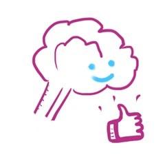 Petit cerveau souriant avec un pouce levé