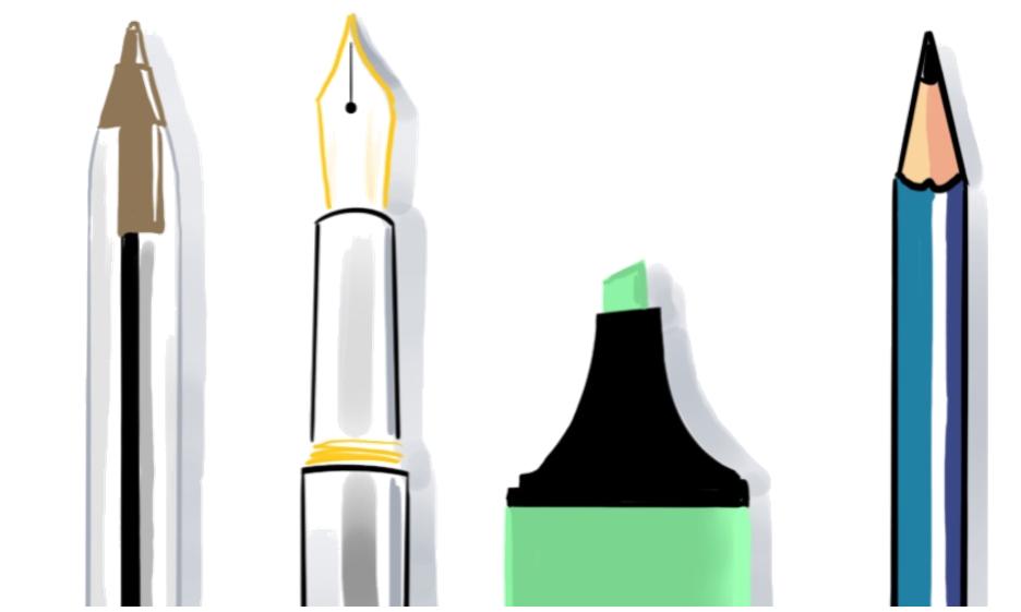 Illustration de stylos classiques ne permettent pas de bien gribouiller